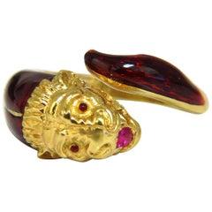 Vintage 18 Karat Gargoyle Gothic Natural Ruby Enamel Endless Ring