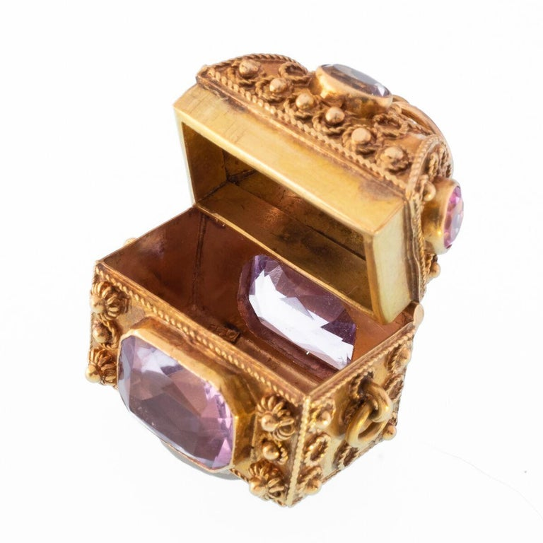 Vintage Large 18 Karat Jeweled Treasure Chest with Pink Sapphires, Aquamarines and Amethysts c.1960s