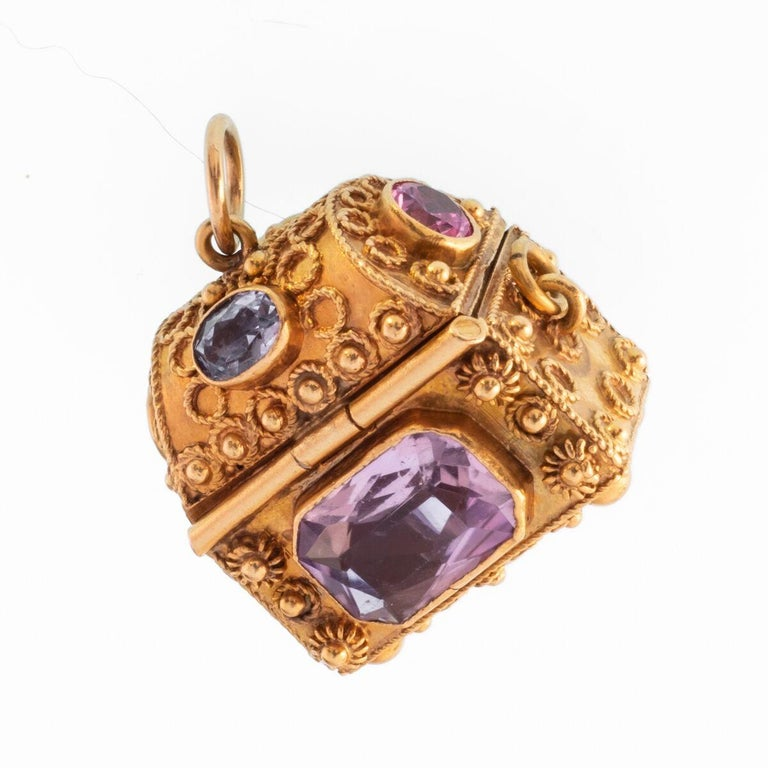Women's or Men's Vintage 18 Karat Gemstone Treasure Chest Charm Pendant For Sale