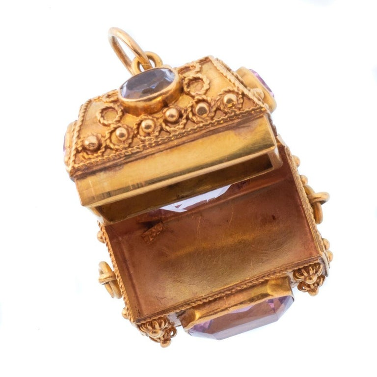 Vintage 18 Karat Gemstone Treasure Chest Charm Pendant For Sale 2