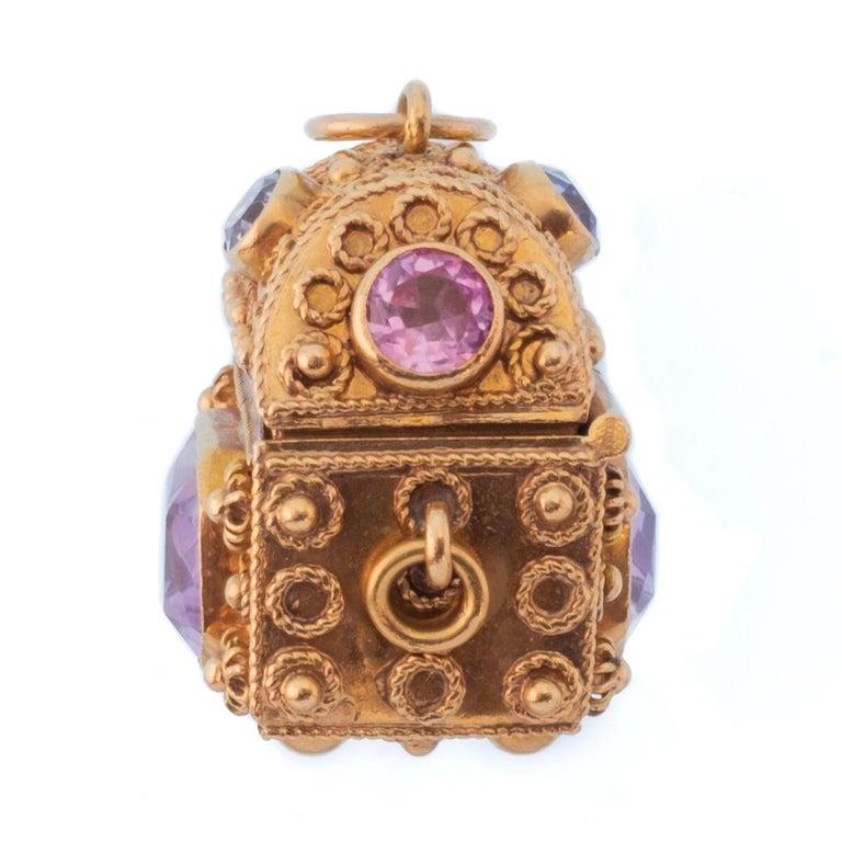 Vintage 18 Karat Gemstone Treasure Chest Charm Pendant For Sale 3
