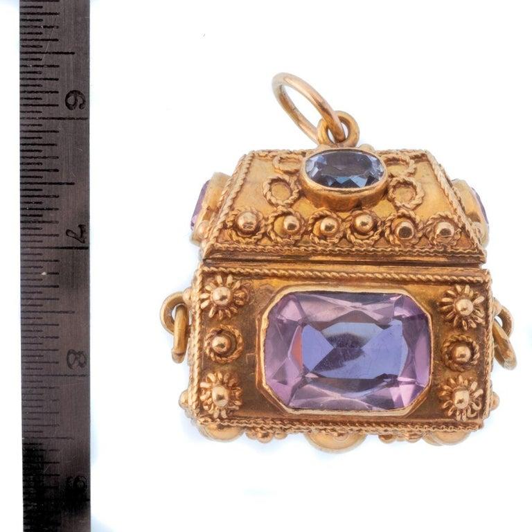 Vintage 18 Karat Gemstone Treasure Chest Charm Pendant For Sale 4