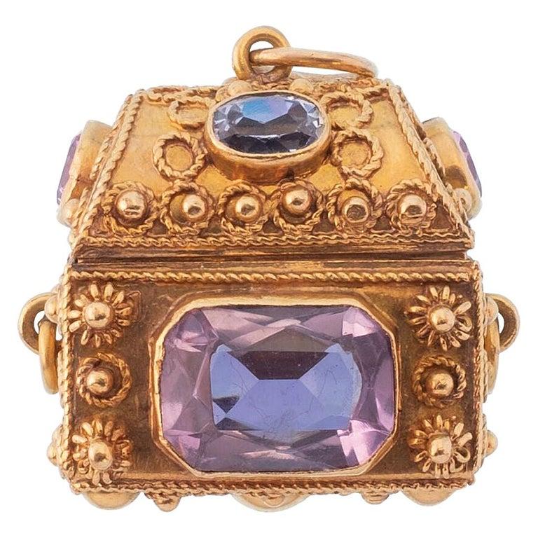 Vintage 18 Karat Gemstone Treasure Chest Charm Pendant For Sale