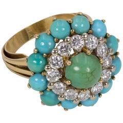 Vintage 18 Karat Gold, 1.2 Carat Diamond and Turquoise Ring, 1960s