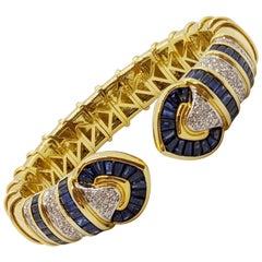 Vintage 18 Karat Gold 1.74 Carat Diamond and 9.87Ct. Blue Sapphire Cuff Bracelet