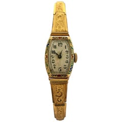 Vintage 18 Karat Gold 1920s Enamel Mechanical Ladies Watch