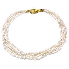 Vintage 18 Karat Gold Akoya Pearls Joined Hands Lovetoken Multistrand Necklace