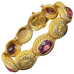 Vintage 18 Karat Gold and Amethyst Bracelet, from the Victorian Era