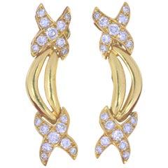 Vintage 18 Karat Gold and Diamond Earrings