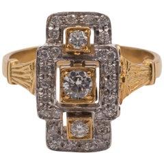 Vintage 18 Karat Gold and Diamond Ring, 1950s