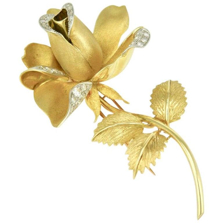 Vintage 18 Karat Gold and Diamond Rose Flower Brooch Pin, 1960s For Sale