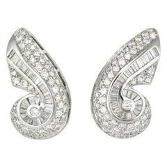 Vintage 18 Karat Gold and Diamond Scroll Earrings J B Star