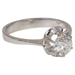 Vintage 18 Karat Gold and Diamond Solitaire Ring, 1950s-1960s
