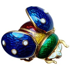 Vintage 18 Karat Gold and Enamel Brooch Depicting a Ladybug with Open Wings