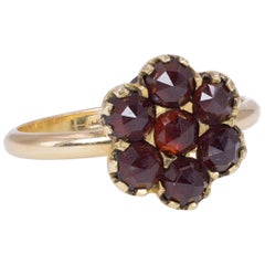 Vintage 18 Karat Gold and Garnet Ring, 1950s
