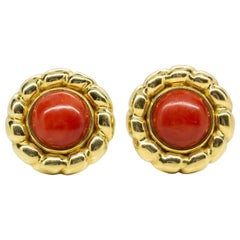 Vintage 18 Karat Gold and Natural Coral Earrings
