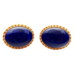 Vintage 18 Karat Gold and Royal Blue Lapis Lazuli Earrings, with Gold Veins