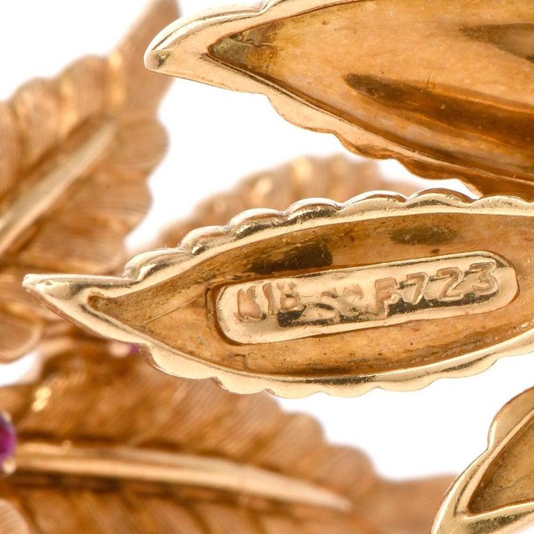Women's Vintage 18 Karat Gold and Ruby Leaf Motif Clip-On Earrings For Sale