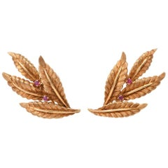 Vintage 18 Karat Gold and Ruby Leaf Motif Clip-On Earrings