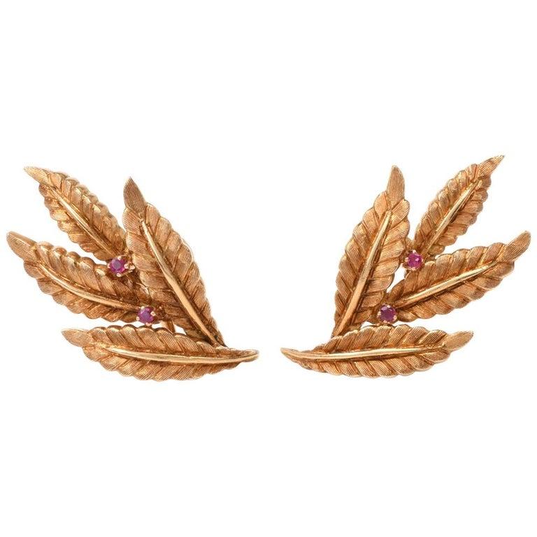 Vintage 18 Karat Gold and Ruby Leaf Motif Clip-On Earrings For Sale
