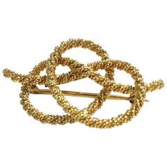 Vintage 18 Karat Gold Corded Knot Pretzel Brooch/Pin