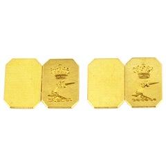 Vintage 18 Karat Gold Cufflinks, Henry Griffith & Sons Ltd, 1960 Birmingham