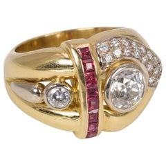 Vintage 18 Karat Gold, Diamond and Ruby Ring, 1970s