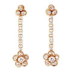 Vintage 18 Karat Gold Diamond Drop Earrings
