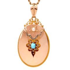Vintage 18 Karat Gold Diamond Turquoise Pearl Locket Pendant