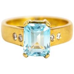 Vintage 18 Karat Gold Emerald Cut Aquamarine and Diamond Ring
