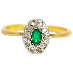 Vintage 18 Karat Gold Emerald and Diamond Cluster Ring