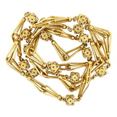 Vintage 18 Karat Gold Fancy Link Long Chain