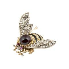 Vintage 18 Karat Gold Garnet Enamel Diamonds Rubies Brooch
