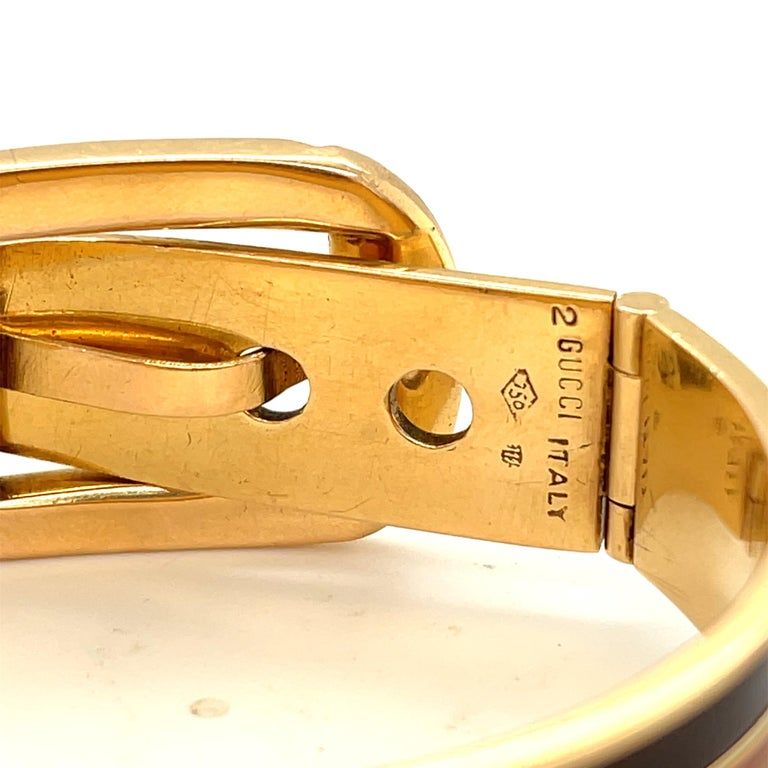 Vintage 18 Karat Gold Gucci Wood Buckle Bracelet For Sale 1