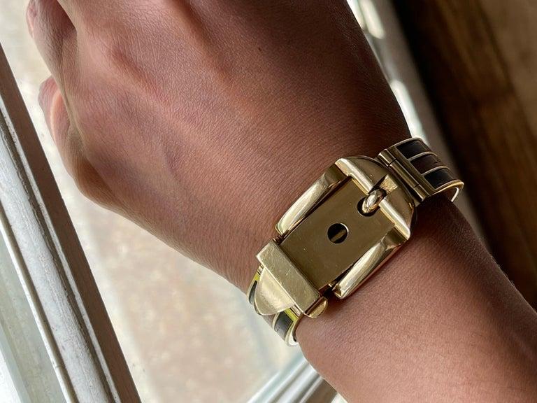 Vintage 18 Karat Gold Gucci Wood Buckle Bracelet For Sale 2