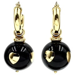 Vintage 18 Karat Gold Italian Made Black Enamel Ball Drop Earrings