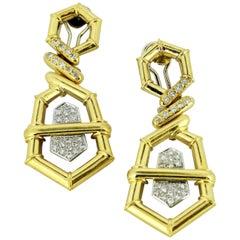 Vintage 18 Karat Gold Ladies Clip-On Earrings with Diamonds, circa 1950s