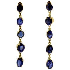 Vintage 18 Karat Gold Ladies Earrings with Ceylon Sapphires, circa 1960s