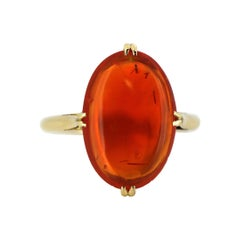 Vintage 18 Karat Gold Ladies Ring with Natural Fire Opal of Approximate 7 Carat