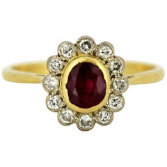 Vintage 18 Karat Gold Ladies Ring with Natural Ruby and Diamonds, London, 1985