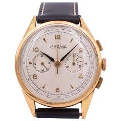 Vintage 18 Karat Gold Lemania Wristwatch, 1950s
