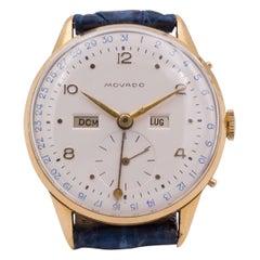 Vintage 18 Karat Gold Movado Calendar Wristwatch, 1950s