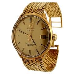 Vintage 18 Karat Gold Omega Seamaster Deville Bracelet Watch