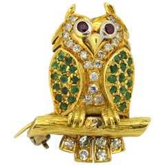 Vintage 18 Karat Gold Owl Brooch with Diamonds, Emeralds and Rubies