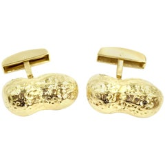 Vintage 18 Karat Gold Peanut Cuff Links