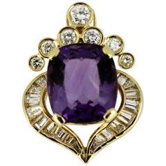 Vintage 18 Karat Gold Pendant with Amethyst and Diamonds, 1950s
