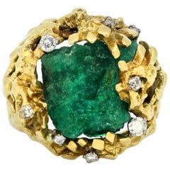 Vintage 18 Karat Gold Ring with Natural Rough Emerald and Diamonds, circa 1970