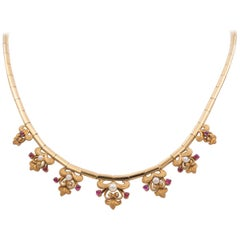 Vintage 18 Karat Gold, Ruby and Bead Necklace, 1960s