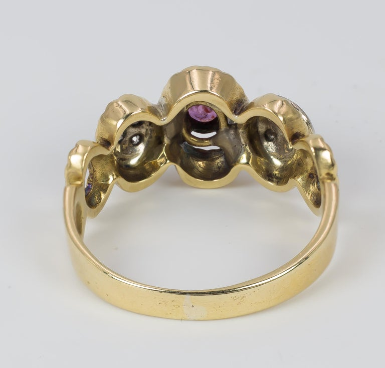 Women's Vintage 18 Karat Gold, Ruby and Diamond Ring, 1970s For Sale