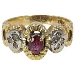 Vintage 18 Karat Gold, Ruby and Diamond Ring, 1970s